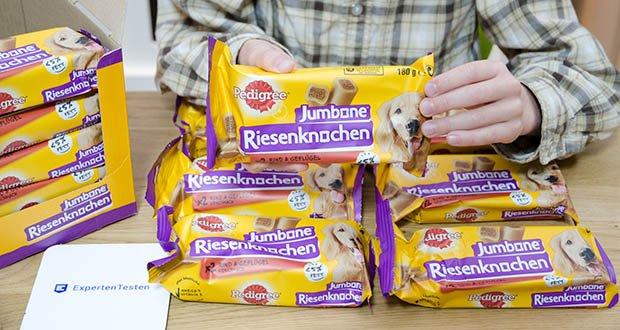 PEDIGREE Riesenknochen Mini mit Rind und Geflügel im Test - jedes Stück liefert 7% des wöchentlichen Energiebedarfs eines 10 kg Hundes