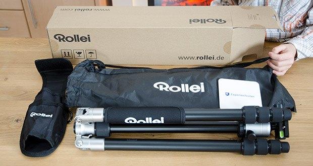 Rollei C5i Fotostativ aus Aluminium im Test - Lieferumfang: Rollei C5I Stativ, Kugelkopf mit Panoramafunktion, Stativhaken, Inbusschlüssel, Schnellwechselplatte und Stativplatte