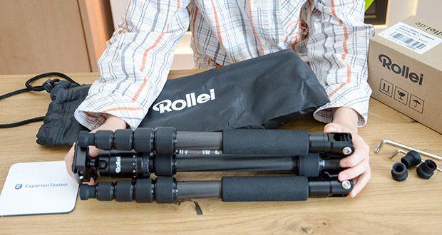 Rollei Compact Traveler No.1 Reisestativ im Test - Lieferumfang: Rollei Compact Traveler No.1 Carbon mit Kugelkopf, Arca Swiss Schnellwechselplatte, Stativtasche und Bedienungsanleitung
