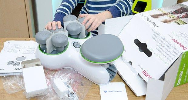 Beurer FM 200 Achillomed Achillessehnenmassagegerät im Test - Lieferumfang: 1x Achillomed, 1x Netzteil, 1x Gebrauchsanweisung