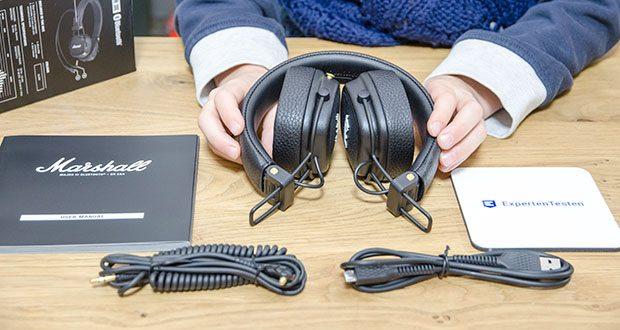Marshall Major III Bluetooth Faltbar Kopfhörer im Test - Lieferumfang: Major III Bluetooth Kopfhörer Abnehmbares 3,5 mm Kabel mit Mikrofon und Fernbedienung, Bedienungsanleitung mit Rechtsund Sicherheitsinformationen, Micro-USB-Ladekabel