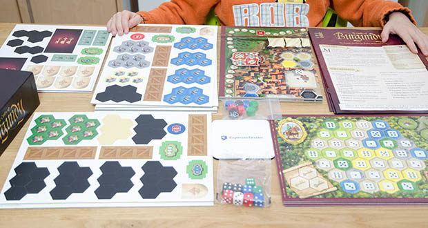 Ravensburger Alea - The Castles of Burgundy im Test - Inhalt: 1 Spielplan, 16 Spielertableaus, über 300 Stanzteile, 9 Würfel, 8 Spielsteine