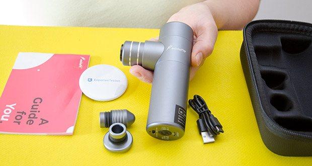 addsfit Massagepistole Mini im Test - Größe: 12,9 x 4 x 10,4 cm, Gewicht: 360g, Farbe: Space Grey