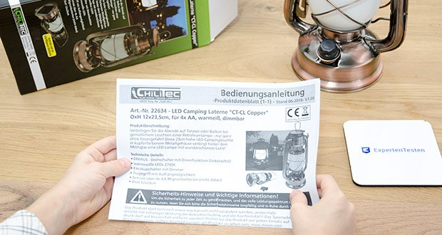 Chilitec LED Camping Laterne CT-CL Copper im Test - max. 420 Lumen, warmweiße LEDs 2700K