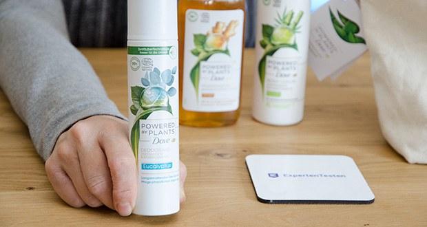 Dove Powered by Plants Duftmix 3-teiliges Geschenkset im Test - das Deodorant im Pflegeset bietet langanhaltende Frische und die Pflegedusche und die Body Lotion unterstützen die natürlichen, feuchtigkeitserneuernden Prozesse in der Haut