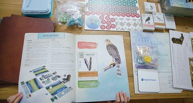 Feuerland Spiele Flügelschlag Brettspiel im Test - jede Vogelkarte enthält neben den Spielinformationen auch interessante Informationen zum Vogel selbst