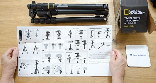 National Geographic Foto-Reisestativ-Set im Test - weil geringes Gewicht für ein Reisestativ unabdingbar ist, kann unter der Mittelsäule an einem federnd gelagerten Haken zusätzliches Gewicht zur Erhöhung der Standfestigkeit eingehängt werden
