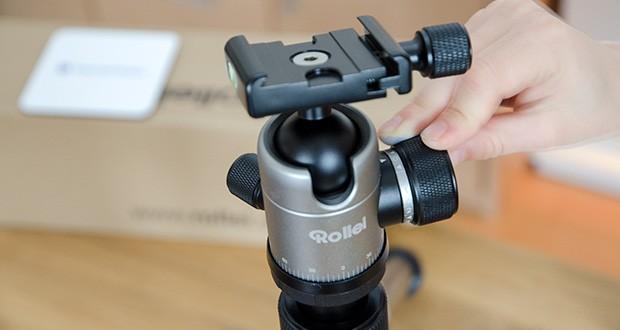 Rollei C5i Fotostativ aus Aluminium im Test - der 360 Grad Kugelkopf in Verbindung mit den 2 Wasserwaagen ermöglicht Ihnen immer eine optimale Ausrichtung Ihres Fotoapparats
