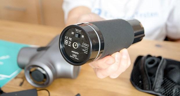 addsfit Massagepistole Max im Test - ausgestattet mit einer aerodynamischen Schallschutzhülle, einem bürstenlosen Motor mit hohem Drehmoment, militärtauglichen Komponenten und akustisch absorbierendem Material