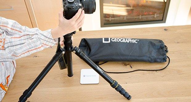 National Geographic Foto-Reisestativ-Set im Test - von der kompakten Systemkamera bis zur Spiegelreflexkamera mit Zoomobjektiv trägt dieses Modell problemlos Ausrüstung bis zu 8 kg