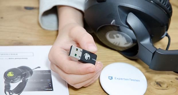 Roccat Elo 7.1 Air Gaming Headset im Test - direkte Drahtlosverbindung über USB-A-Transmitter, Sendefrequenzbereich von 2,4 GHz
