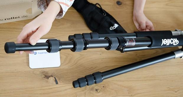 Rollei C5i Fotostativ aus Aluminium im Test - die teilbare Mittelsäule erlaubt Ihnen zusätzlich noch Bodennahe Aufnahmen