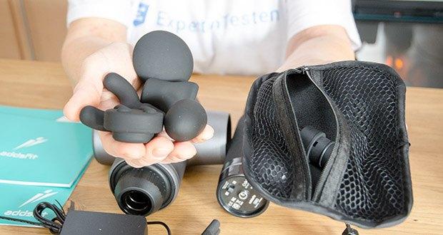 addsfit Massagepistole Max im Test - bietet 5 Silikonkopfaufsätze mit unterschiedlichen Formen und Härtegraden an