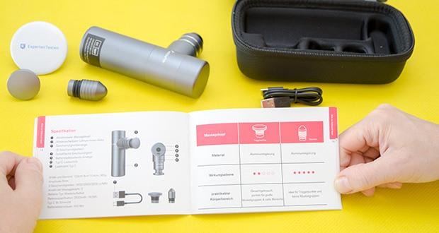 addsfit Massagepistole Mini im Test - entwickelt mit einer Hubtiefe von 6 mm, einer 3-Gang-Stufe, und Mit einer Schlagkraft von bis zu 27 Pfund