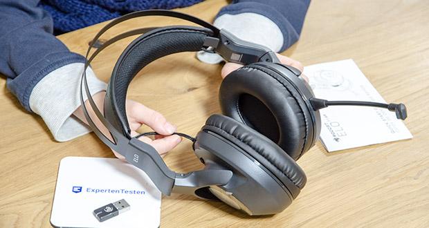 Roccat Elo 7.1 Air Gaming Headset im Test - Audiosteuerung: Ein-/Aus-Schalter, Master-Lautstärkerad, Mikrofon-Stummschaltung und Mikrofon-Kontrollrad