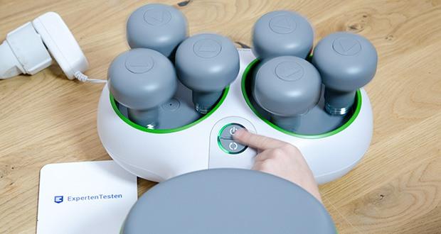 Beurer FM 200 Achillomed Achillessehnenmassagegerät im Test - die sechs Massageköpfe sind höhen- und weitenverstellbar, damit passen sie sich ideal an die persönliche Physis des Nutzers an