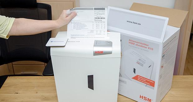 HSM shredstar X10 Aktenvernichter im Test - Schnittgut: Papier, Heft-/Büroklammern, Kreditkarten, CDs / DVDs