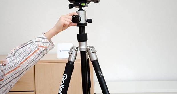 Rollei C5i Fotostativ aus Aluminium im Test - mit 159cm max. Höhe und 21 cm min. Höhe können Sie in jeder Position fotografieren
