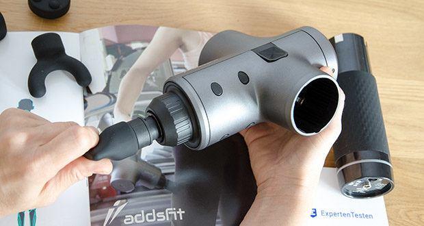 addsfit Massagepistole Max im Test - schaltet sich nach 30 Minuten Gebrauch automatisch ab, um Überlastung oder Überbeanspruchung zu vermeiden