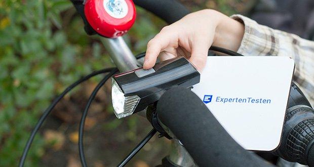 Chilitec Fahrrad LED-Beleuchtungsset CFL 30 pro im Test - Frontscheinwerfer mit Schalter 100%-50%-Aus
