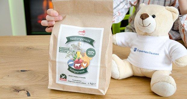 Leiky Naturgenuss kaltgepresst Hundefutter (Rind, Huhn, Forelle) im Test - Alleinfuttermittel für erwachsene Hunde