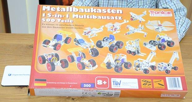 Tronico 15-in-1 Multibaukasten Fahrzeuge im Test - 500 Teile Multibaukasten, 15 Modelle
