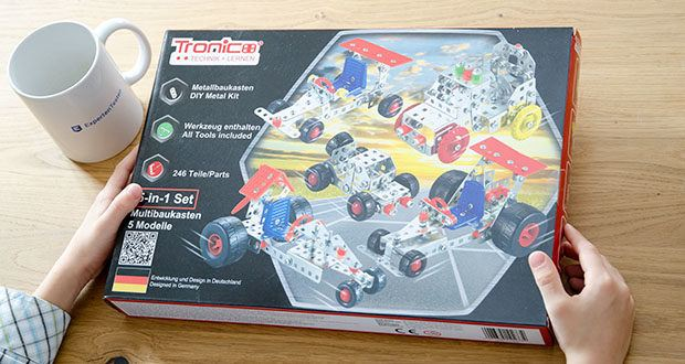Tronico 5-in-1 Multibaukasten Autos im Test - Rennwagen Autos Modelle, 246 Teile Multibaukasten, 5 Modelle