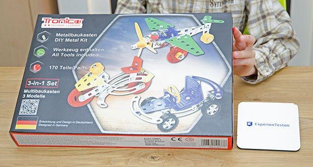 Tronico 3-in-1 Multibaukasten Starter Set im Test - Starter Einsteiger Metallbaukasten für Kinder ab 6 Jahren
