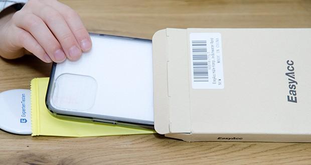 EasyAcc IPhone 12 Hülle mit schwarzen Rahmen im Test - die Hülle mit verstärkten Ecken zum Schutz bei Fallen und Stoßen gebaut