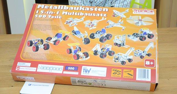 Tronico 15-in-1 Multibaukasten Fahrzeuge im Test - es können 15 verschiedene Modelle aus dem Baukasten nacheinander erstellt werden