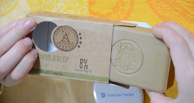 Alepeo Aleppo Seife Grüner Tee im Test - unterstützt die Gesundheit der Haut, indem sie die Haut mit Feuchtigkeit versorgt, die Durchblutung anregt und die Talgproduktion reguliert und dadurch einen positiven Einfluss auf den allgemeinen Teint, die Textur, die Festigkeit und die Spannkraft der Haut hat