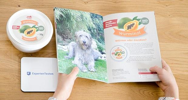 Leiky Wurminol Papainpulver Ergänzungsfutter im Test - Fütterungsempfehlung – Kurmäßige Anwendung: Hund 30 kg (+): 3 Tage je 1 gestr. EL (= ca. 20 g gesamt für alle 3 Tage) / Hund 15 - 30 kg: 3 Tage je 1 gestr. TL (= ca. 10 g gesamt für alle 3 Tage) / Kleine Hunde und Katzen unter 15 kg: 3 Tage je 1/2 TL (= ca. 5 g gesamt für alle 3 Tage)