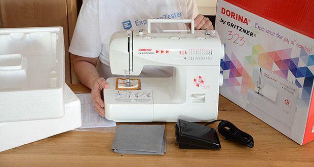 Gritzner Dorina Freiarm-Nähmaschine 323 im Test - mitgeliefert werden Pflegeutensilien sowie unterschiedliche auswechselbare Nähmaschinen-Füße zum einfachen Reißverschluss nähen, Stopfen von Hosen, sowie zum Knopfloch und Knopf annähen