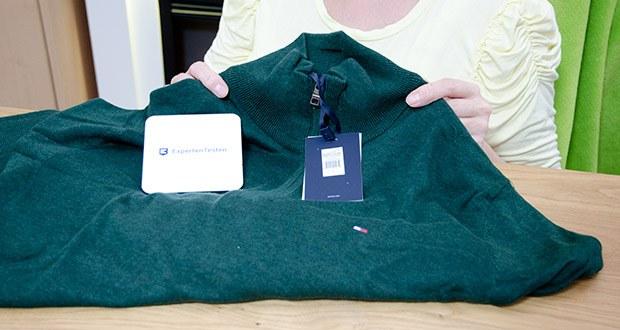 Tommy Hilfiger Herren Organic Cotton Blend Zip Mock Pullover im Test - Ausschnitt: Kragen, Stehkragen; Ausschnittform: Stehkragen