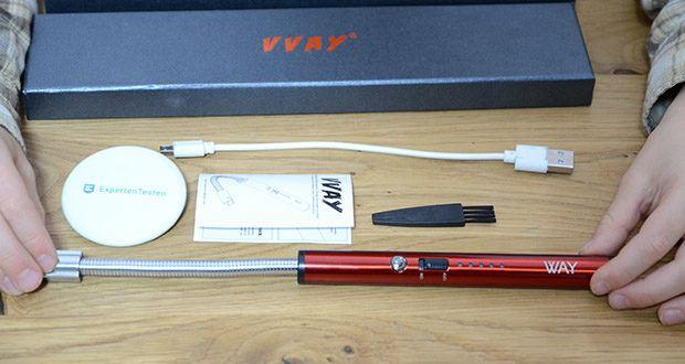 VVAY Flexibles Elektro Stabfeuerzeug im Test - Lieferumfang: 1x Kerzenfeuerzeug im Geschenkbox, 1x Micro USB Ladekabel