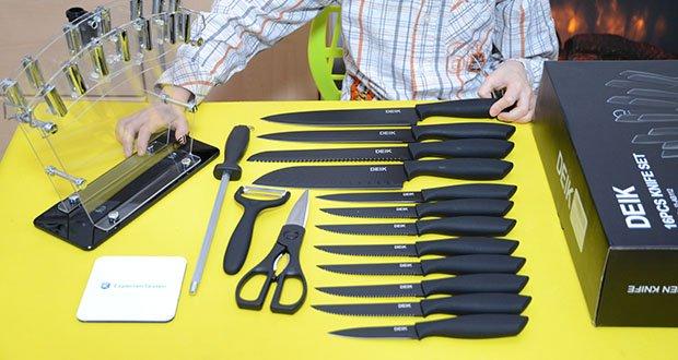 Deik Messerblock Set im Test - dieses Set ist ebenso bietet alle essentiellen Küchenhelfer, die man zum Schneiden, Würfeln und Hacken benötigt