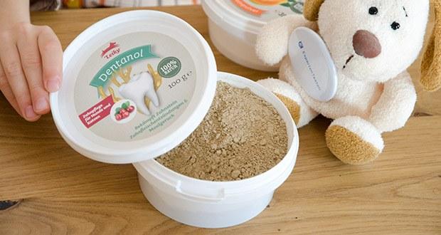 Leiky Dentanol Ergänzungsfutter im Test - Fütterungsempfehlung: Dem Futter beimischen. Katze / Hund bis 5 kg: ca. 0,25 g (Messerspitze) / 5 - 15 kg Hund ca. 0,5 g (1/4 TL) / 15 - 30 kg Hund ca. 1 g (1/2 TL) / ab 30 kg Hund ca. 2 g (1 TL)