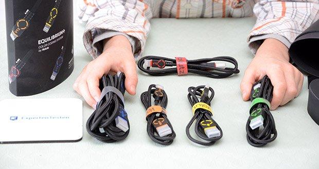 Volutz USB zu Lightning Kabel 5er Pack im Test - das 8-Pin-Lightning Schnellladekabel erreicht eine Datenübertragung von 480 MBit/s mit einem USB 2.0 Anschluss, und kann mit 5V / 2.4 A ebenfalls aufladen