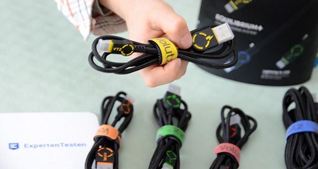 Volutz USB zu Lightning Kabel 5er Pack im Test - Nylon Ummantelung sorgt für sehr hohe Widerstandsfähigkeit gegenüber Biegungen und dem täglichen Verschleiß