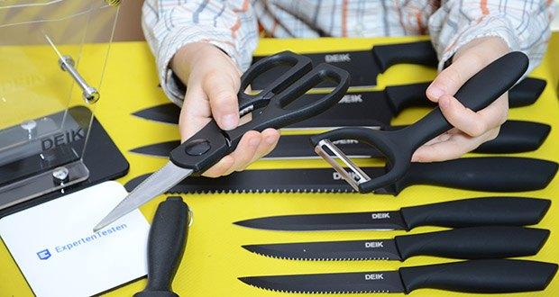 Deik Messerblock Set im Test - der ergonomische Griff ist aus hartplastik hergestellt für angenehmen Halt, minimiert Ermüdungserscheinungen der Finger und verbessert die Balance