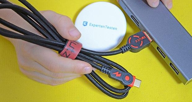 Volutz USB C Kabel 5er Pack im Test - ergonomisches Design mit geriffeltem Seitengriff