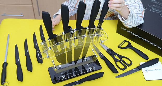 Deik Messerblock Set im Test - die transparent des Messerhalter ermöglicht es Ihnen, den Status aller Messer