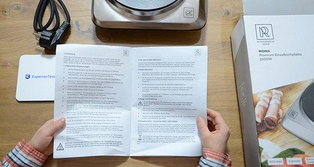 M.Rosenfeld Premium Einzelkochplatte Mona im Test - mit einem einfachen Schalter an der Vorderseite können Sie die Garstuffe ausschalten, einschalten oder regeln