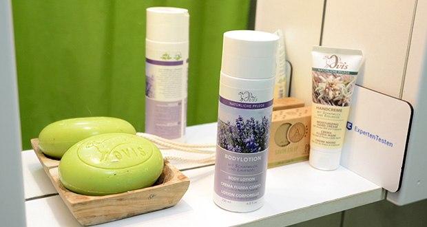 Ovis Bodylotion mit Lavendel und Schafmilch im Test - die Schafmilch enthält zusätzlich auch einen hohen Anteil an Vitamin E