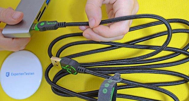Volutz USB C Kabel 5er Pack im Test - verwickelungsfrei und robust durch geflochtenes Textilgewebe