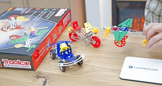 Tronico 3-in-1 Multibaukasten Starter Set im Test - es können alle 3 Fahrzeuge zur selben Zeit aufgebaut werden. Flugzeug, Rennwagen, Motorrad