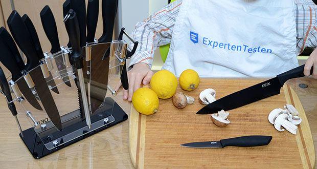 Deik Messerblock Set im Test - schwarze BO-Oxidationsklinge und transparenter Acrylständer macht Deik 16 Stück Messerset viel klassischer und modischer