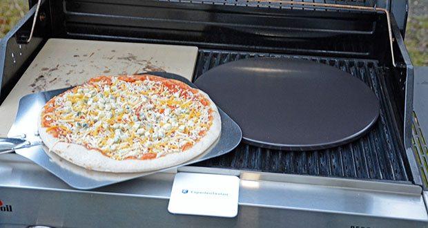 Esprevo Pizzastein Set im Test - dank der optimalen Höhe von 1,1cm lässt sich der Pizzastein in Rekordzeit aufheizen