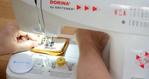 Gritzner Dorina Freiarm-Nähmaschine 323 im Test - Einstellung der Stichlänge, Stichbreite und Fadenspannung Nähen mit Zwillingsnadel möglich