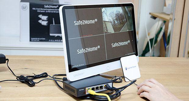 Safe2Home Funk Überwachungskamera Set im Test - sobald die Kameras mit Strom versorgt werden, findet der All-in-One NVR Monitor die Kameras selbstständig